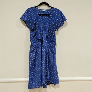 Maison Jules•Vintage Style Deep V Bird Print Dress